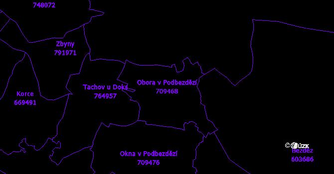 Katastrální mapa Obora v Podbezdězí - přehledová mapa katastrálního území