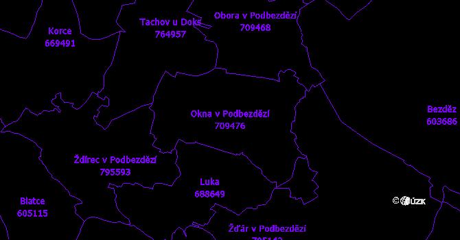 Katastrální mapa Okna v Podbezdězí - přehledová mapa katastrálního území