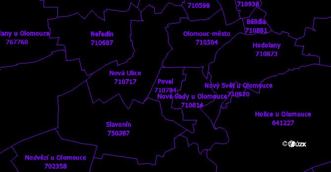 Katastrální mapa Povel - přehledová mapa katastrálního území
