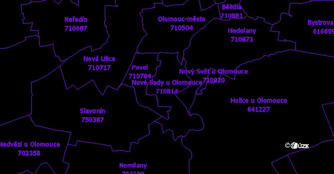 Katastrální mapa Nové Sady u Olomouce - přehledová mapa katastrálního území
