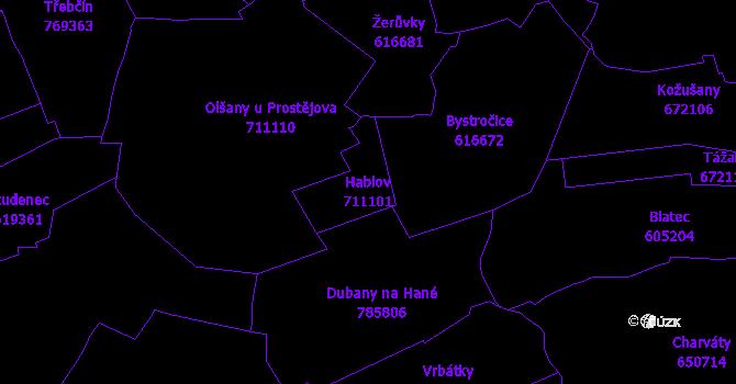 Katastrální mapa Hablov - přehledová mapa katastrálního území