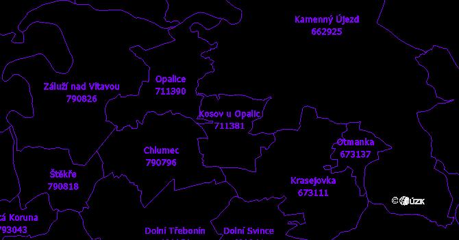 Katastrální mapa Kosov u Opalic - přehledová mapa katastrálního území