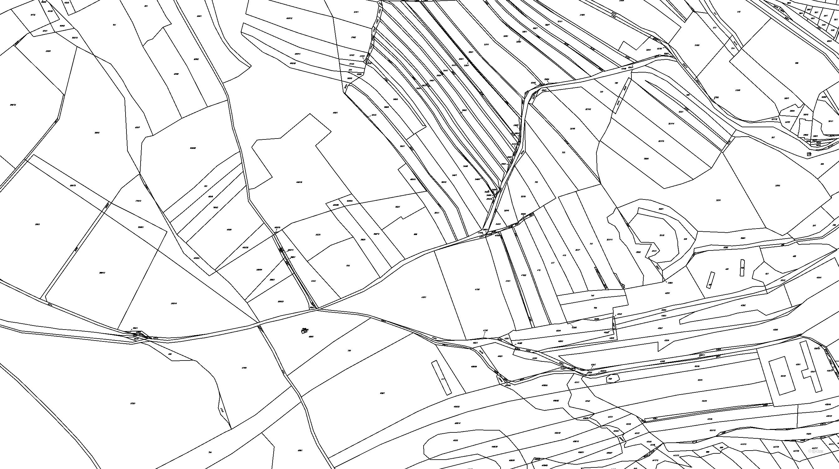 Katastrální mapa pozemků a čísla parcel Opatovice u Vyškova