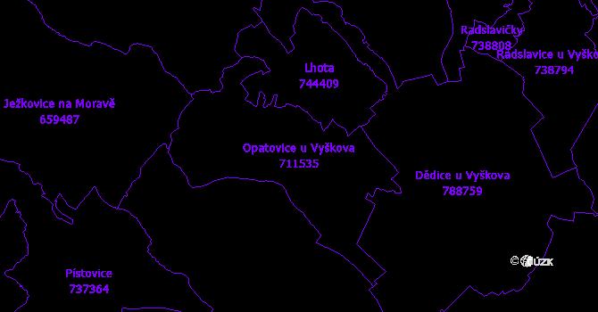 Katastrální mapa Opatovice u Vyškova - přehledová mapa katastrálního území