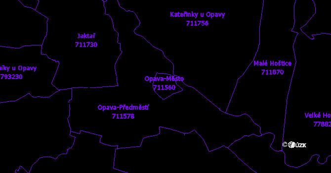 Katastrální mapa Opava-Město - přehledová mapa katastrálního území