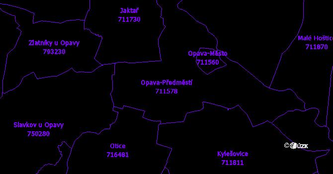 Katastrální mapa Opava-Předměstí - přehledová mapa katastrálního území
