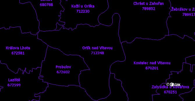 Katastrální mapa Orlík nad Vltavou - přehledová mapa katastrálního území