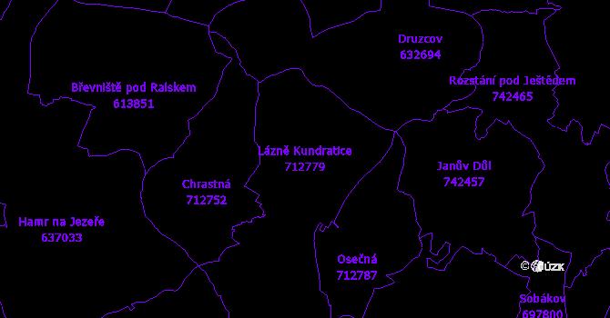 Katastrální mapa Lázně Kundratice - přehledová mapa katastrálního území