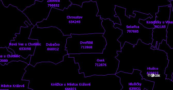 Katastrální mapa Dvořiště - přehledová mapa katastrálního území