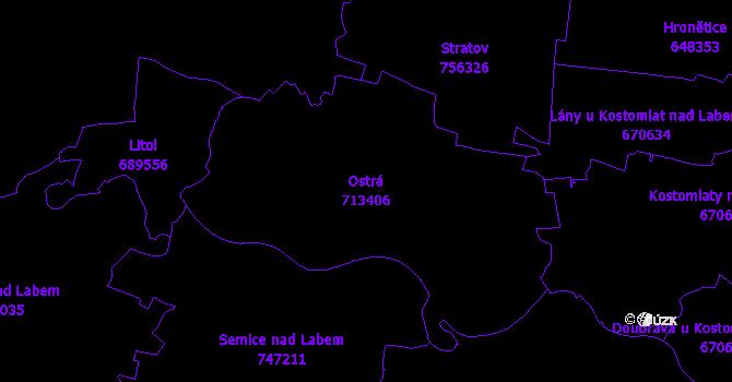 Katastrální mapa Ostrá - přehledová mapa katastrálního území