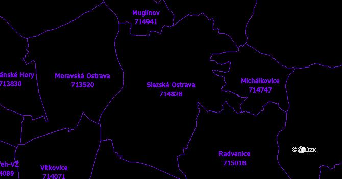 Katastrální mapa Slezská Ostrava - přehledová mapa katastrálního území