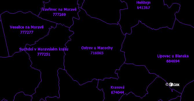 Katastrální mapa Ostrov u Macochy - přehledová mapa katastrálního území