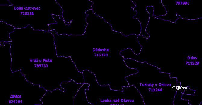 Katastrální mapa Dědovice - přehledová mapa katastrálního území