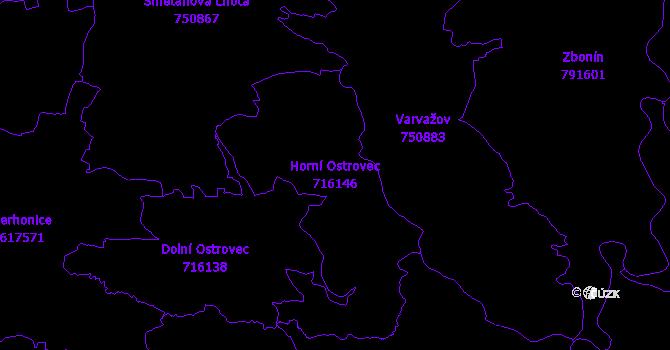 Katastrální mapa Horní Ostrovec - přehledová mapa katastrálního území