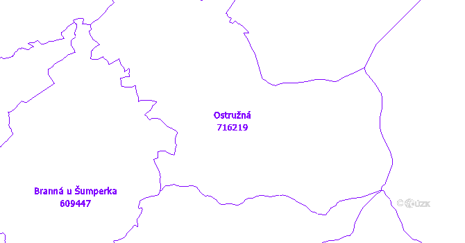 Katastrální mapa Ostružná - přehledová mapa katastrálního území