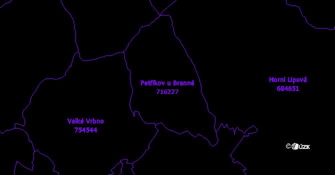 Katastrální mapa Petříkov u Branné - přehledová mapa katastrálního území
