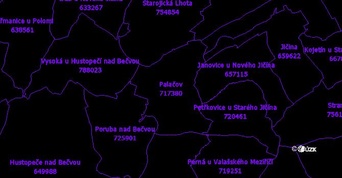 Katastrální mapa Palačov - přehledová mapa katastrálního území