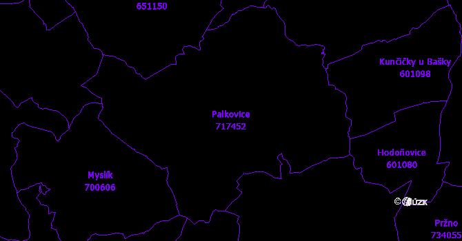 Katastrální mapa Palkovice - přehledová mapa katastrálního území