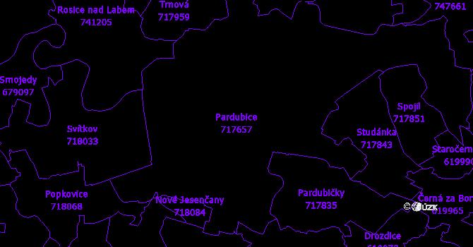 Katastrální mapa Pardubice - přehledová mapa katastrálního území