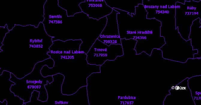 Katastrální mapa Trnová - přehledová mapa katastrálního území