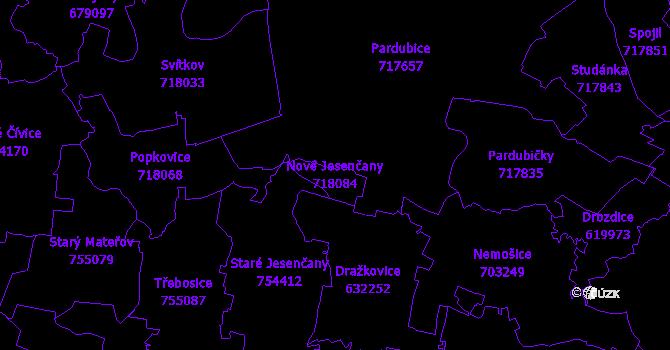 Katastrální mapa Nové Jesenčany - přehledová mapa katastrálního území