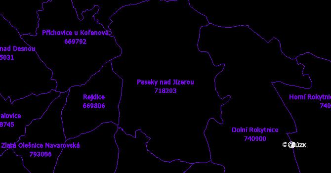 Katastrální mapa Paseky nad Jizerou - přehledová mapa katastrálního území