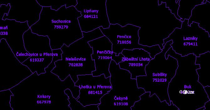 Katastrální mapa Penčičky - přehledová mapa katastrálního území