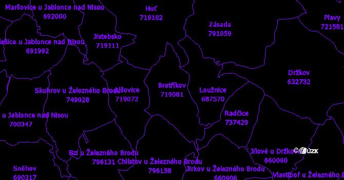 Katastrální mapa Bratříkov - přehledová mapa katastrálního území