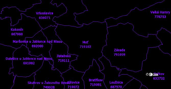 Katastrální mapa Huť - přehledová mapa katastrálního území