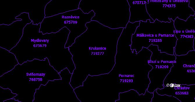 Katastrální mapa Krukanice - přehledová mapa katastrálního území