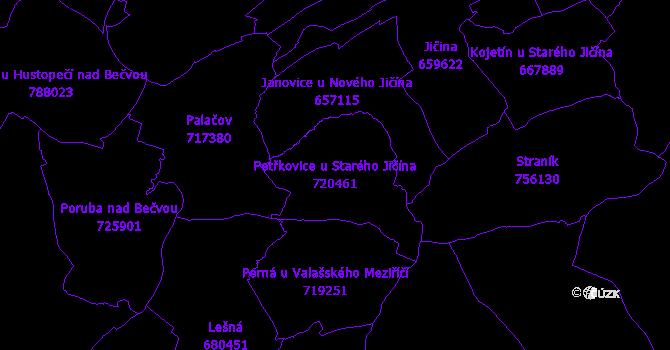 Katastrální mapa Petřkovice u Starého Jičína - přehledová mapa katastrálního území