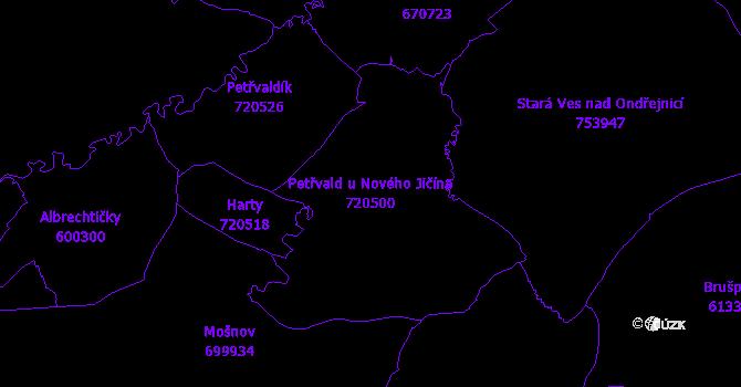 Katastrální mapa Petřvald u Nového Jičína - přehledová mapa katastrálního území