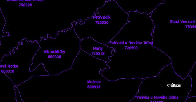 Katastrální mapa Harty - přehledová mapa katastrálního území