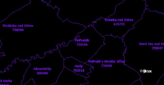 Katastrální mapa Petřvaldík - přehledová mapa katastrálního území
