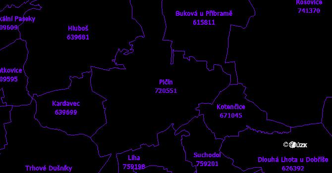Katastrální mapa Pičín - přehledová mapa katastrálního území