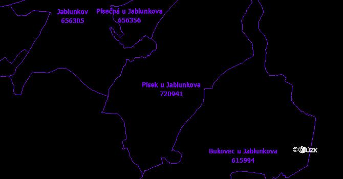Katastrální mapa Písek u Jablunkova - přehledová mapa katastrálního území