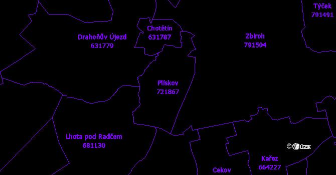 Katastrální mapa Plískov - přehledová mapa katastrálního území