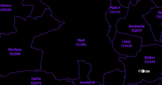 Katastrální mapa Plzeň - přehledová mapa katastrálního území