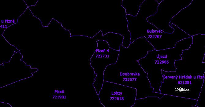 Katastrální mapa Plzeň 4 - přehledová mapa katastrálního území
