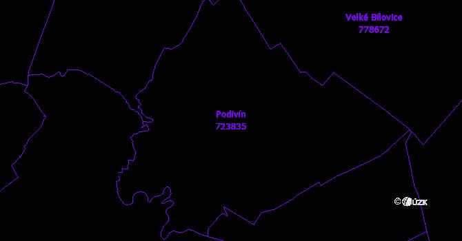 Katastrální mapa Podivín - přehledová mapa katastrálního území