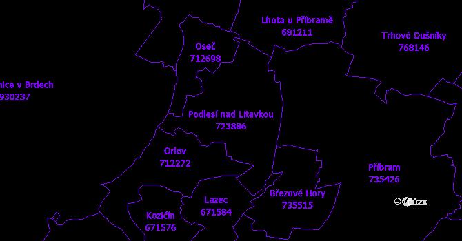Katastrální mapa Podlesí nad Litavkou - přehledová mapa katastrálního území