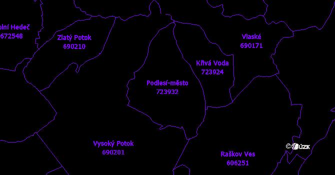 Katastrální mapa Podlesí-město - přehledová mapa katastrálního území