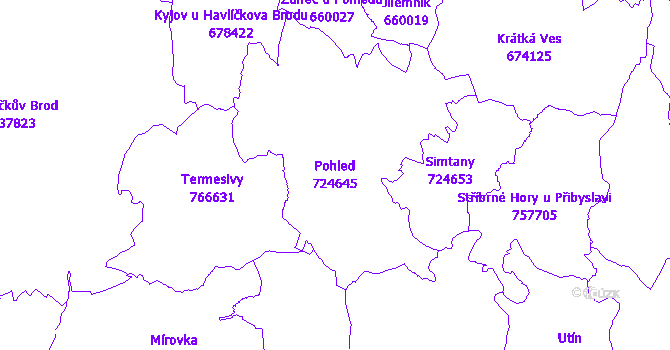 Katastrální mapa Pohled - přehledová mapa katastrálního území