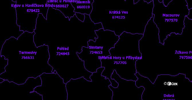 Katastrální mapa Simtany - přehledová mapa katastrálního území