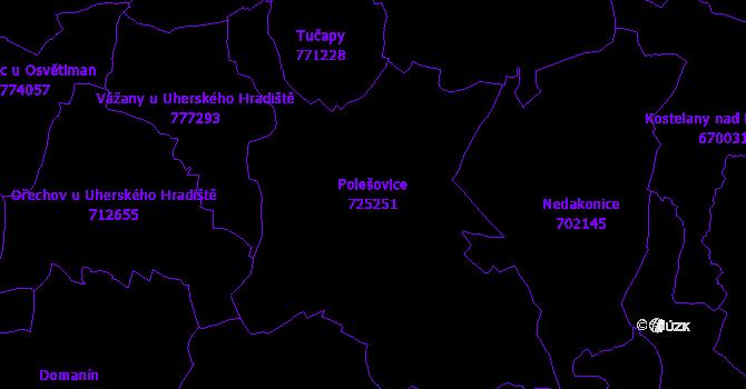 Katastrální mapa Polešovice - přehledová mapa katastrálního území