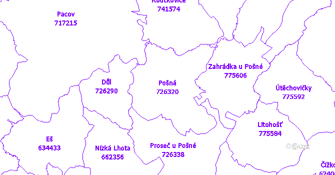 Katastrální mapa Pošná - přehledová mapa katastrálního území