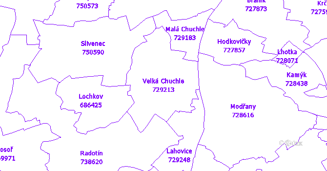 Katastrální mapa Velká Chuchle - přehledová mapa katastrálního území