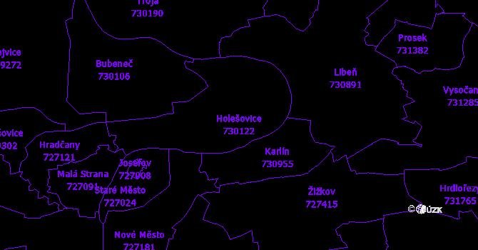 Katastrální mapa Holešovice - přehledová mapa katastrálního území