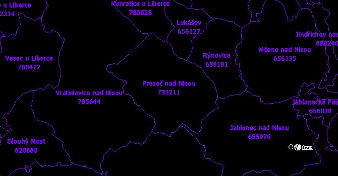 Katastrální mapa Proseč nad Nisou - přehledová mapa katastrálního území