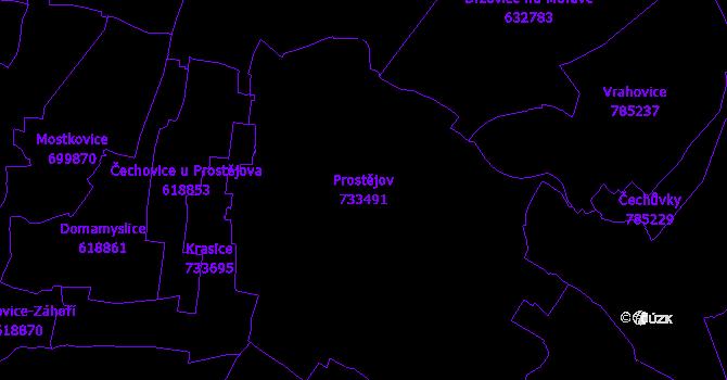 Katastrální mapa Prostějov - přehledová mapa katastrálního území